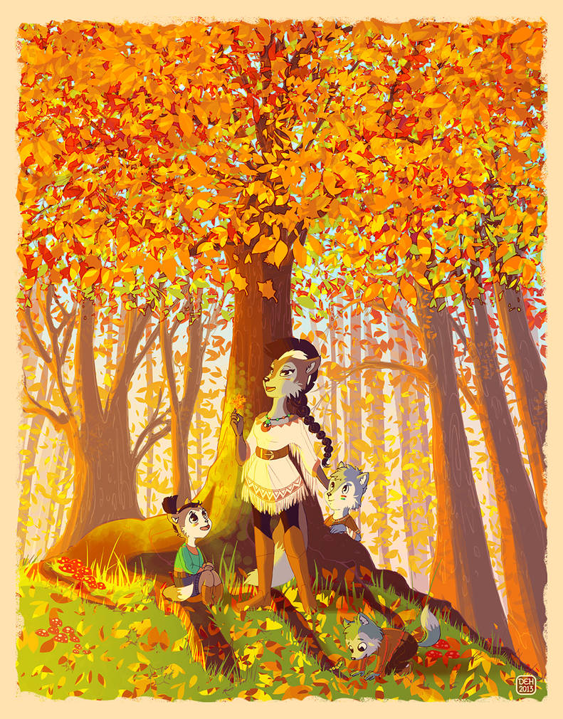 Autumn Forest Lupe and Pups