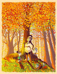 Autumn Forest Lupe and Pups by danee313