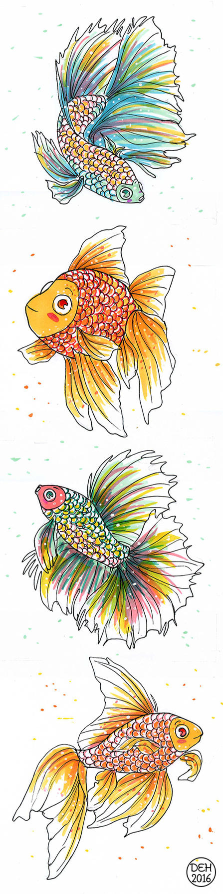 Goldfish and Betta by danee313