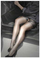 Nylons in a car by Nylony-pl