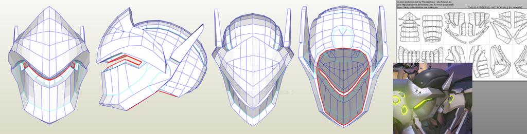 Overwatch Genji Papercraft Helmet by KaiserLee