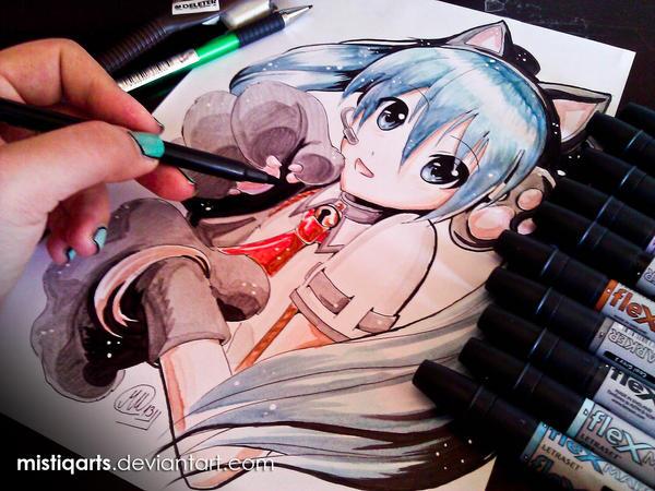 Neko Hatsune Miku by Mistiqarts