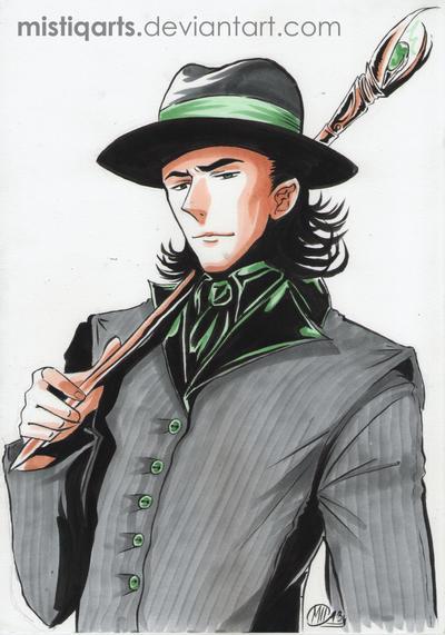 Mobster Loki Copic Portrait by Mistiqarts