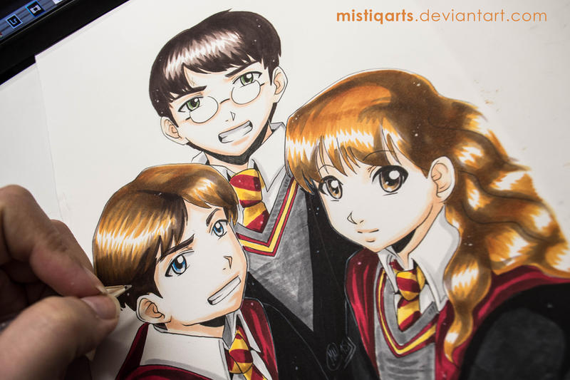 Ron, Hermione and Harry Potter by Mistiqarts