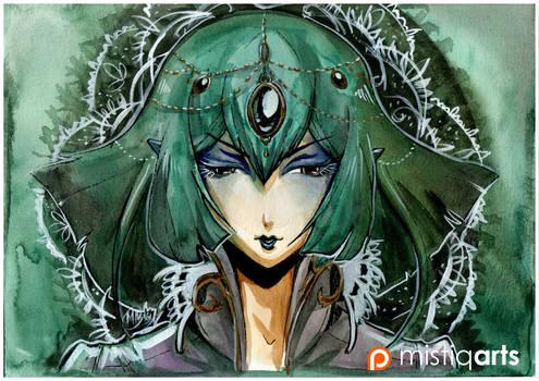 Green Queen Watercolor Illustration