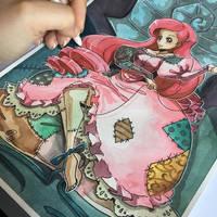 Ariel Sally Crossover Watercolor piece by Mistiqarts