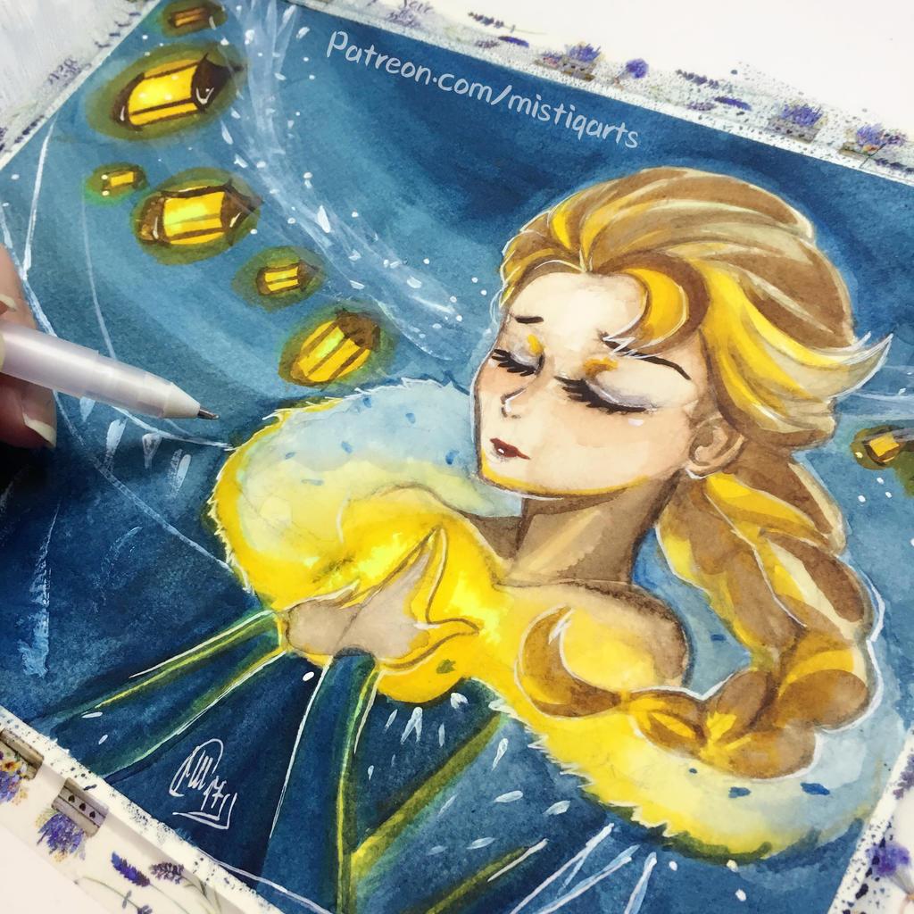 Olafs adventure Elsa Watercolor piece by Mistiqarts
