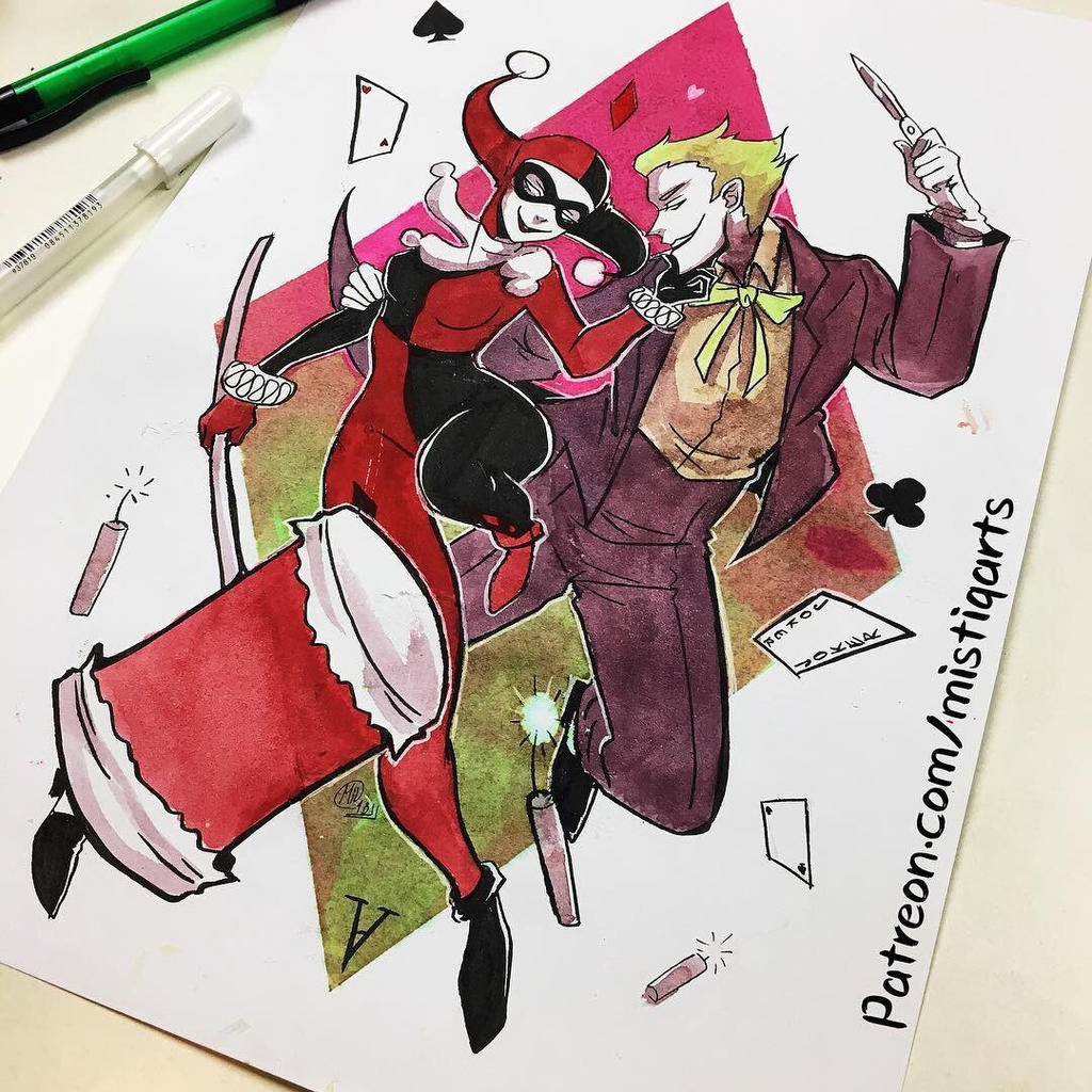 Valentines Harley and Joker by Mistiqarts