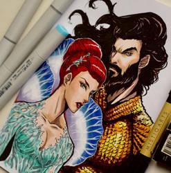 Aquaman and Mera Copic Art