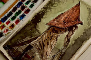 Pyramid Head Watercolor Art by Mistiqarts