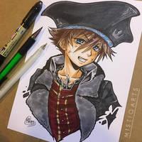 Pirate Sora Colored Copic  Art by Mistiqarts