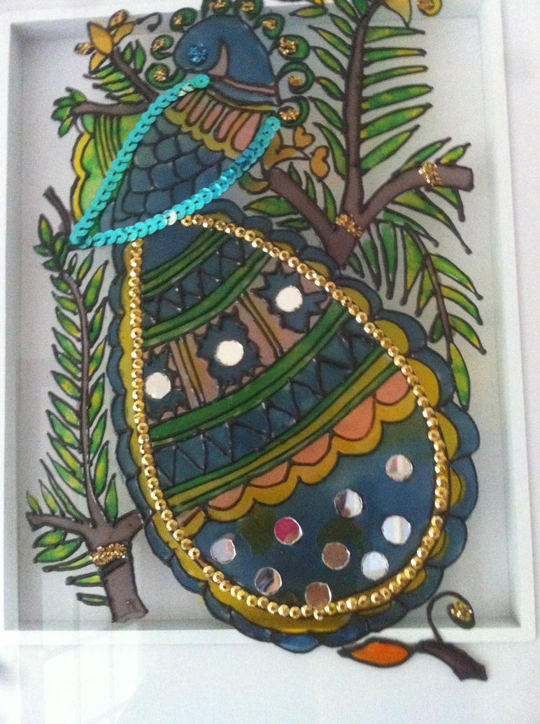 Peacock designs for glass painting - photo#9