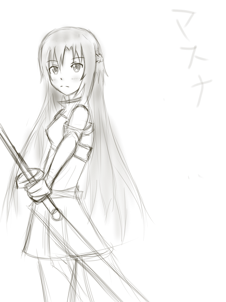Asuna sword art online sketch by xanox100 on deviantart for Sketch it online