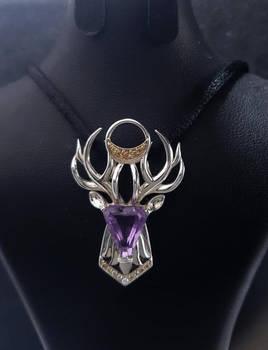 Amethyst king deer pendant