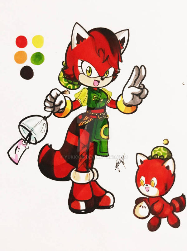 Leigh Zang the Red Panda and Maita the Chao by YukiCos
