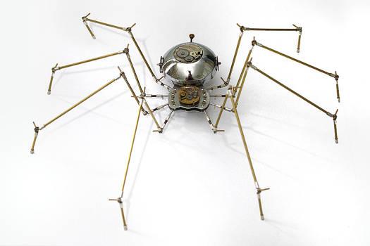 Steampunk metal spider sculpture