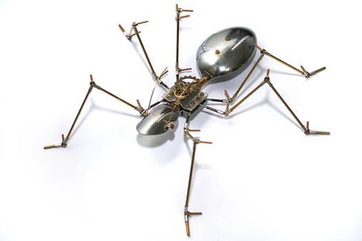 Steampunk metal ant sculpture
