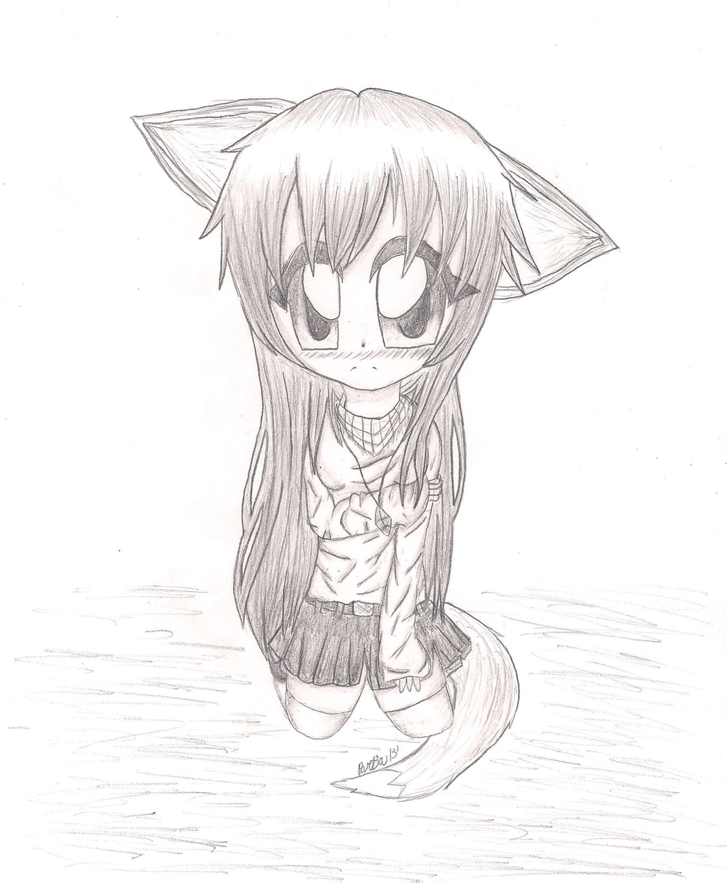 Shy Fox Anime Girl (Sketch) By MysticalWaffles On DeviantArt