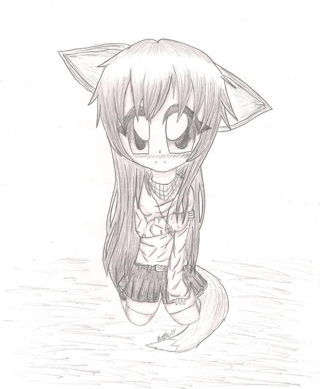 Shy Fox Anime Girl (Sketch) By MysticalWaffles On DeviantArt