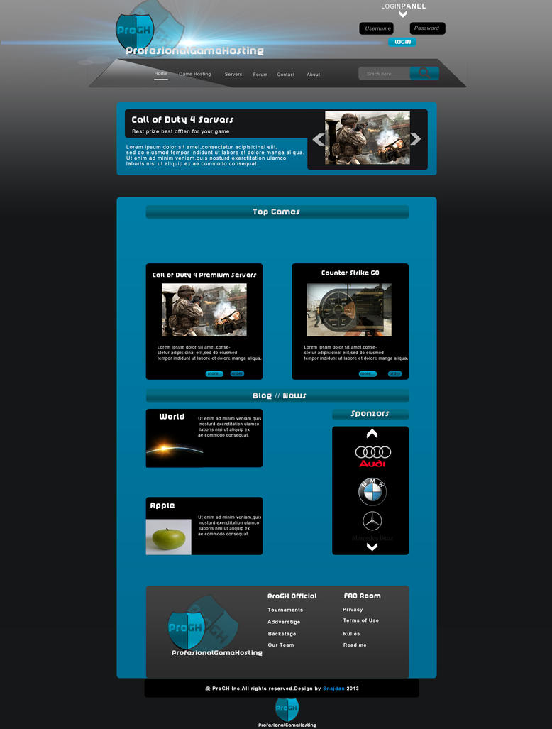 professionalgamehosting template for sale by snajdancreative on