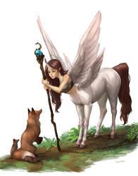Fox and Centaur by KayouVirus