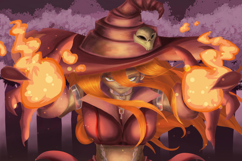 Casting, Pumpkin Witch in Flames by Visoris
