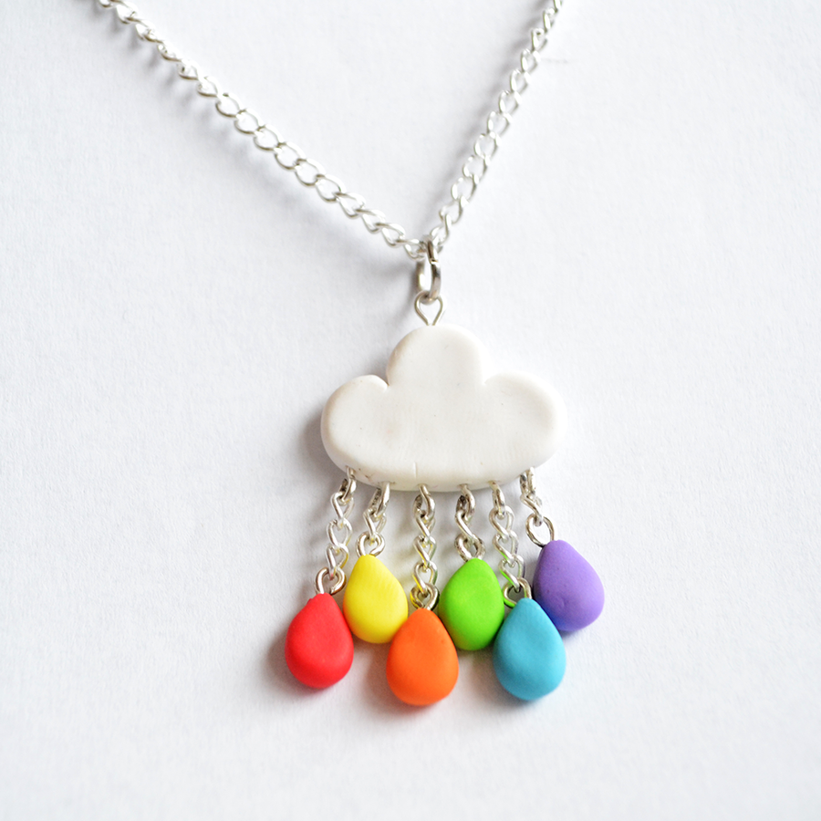 Cute polymer clay rainbow rain cloud necklace by linnypig - Fimo muttertagsgeschenk ...