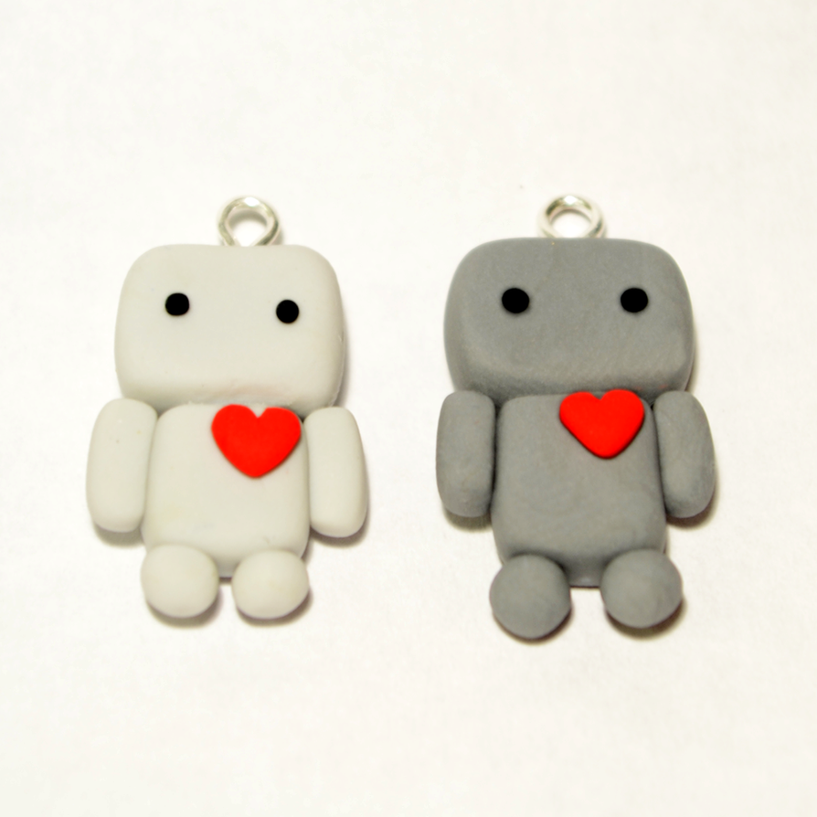 Pair of cute polymer clay robot charms by linnypig on for Simple clay designs