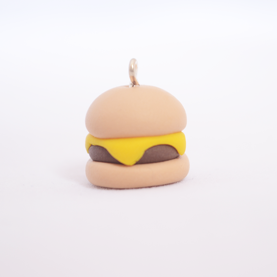 Cute polymer clay cheeseburger charm by linnypig on deviantart