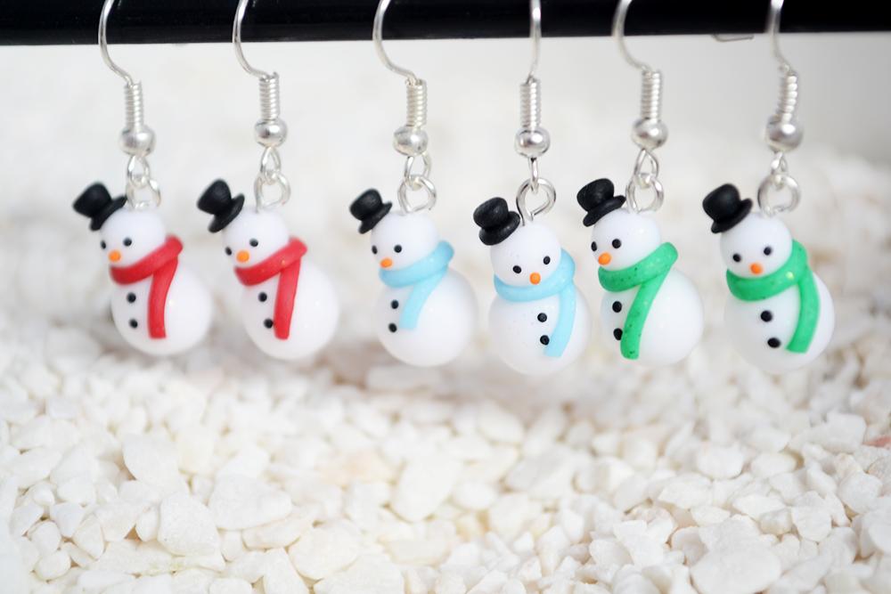 Polymer Clay Christmas Jewelry.Polymer Clay Snowman Earrings Handmade Jewellery By