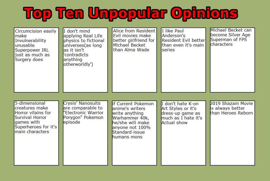 My Top Ten Unpopular Opinions Part 9 by masonicon