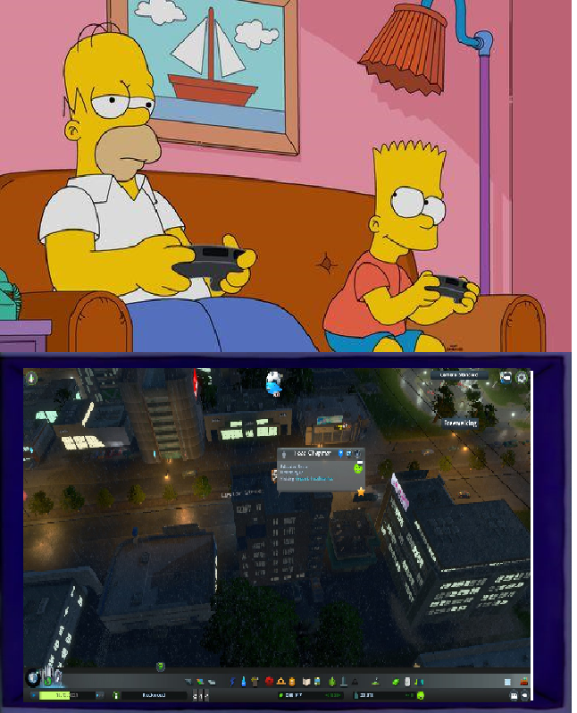 Bart and Homer plays Cities Skylines by masonicon