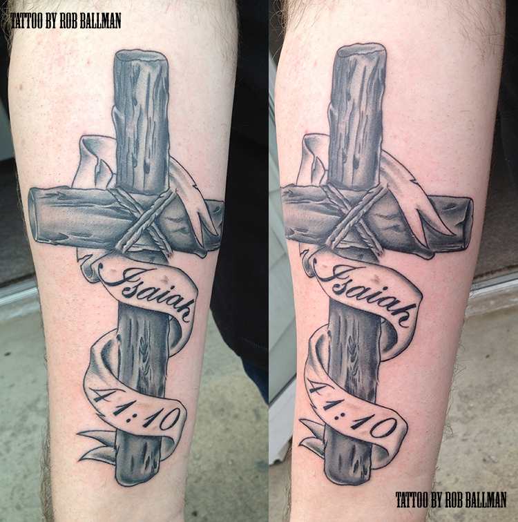 Wooden cross tattoo by rob ballman by painandpleasureohio for Wood cross tattoos