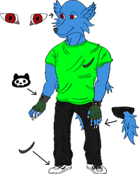 Blue Wolf Dude Dot PNG