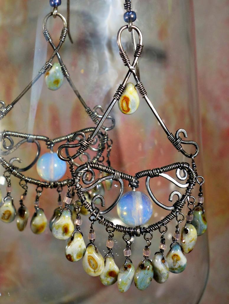 Wire Wrap Chandelier Earrings by cymberrain