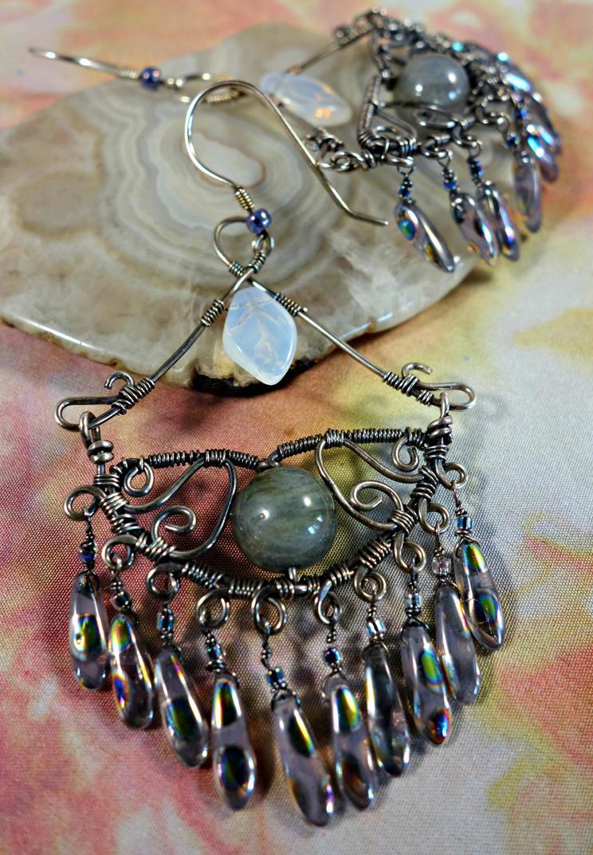 Labradorite Wire Wrapped Chandelier Earrings by cymberrain