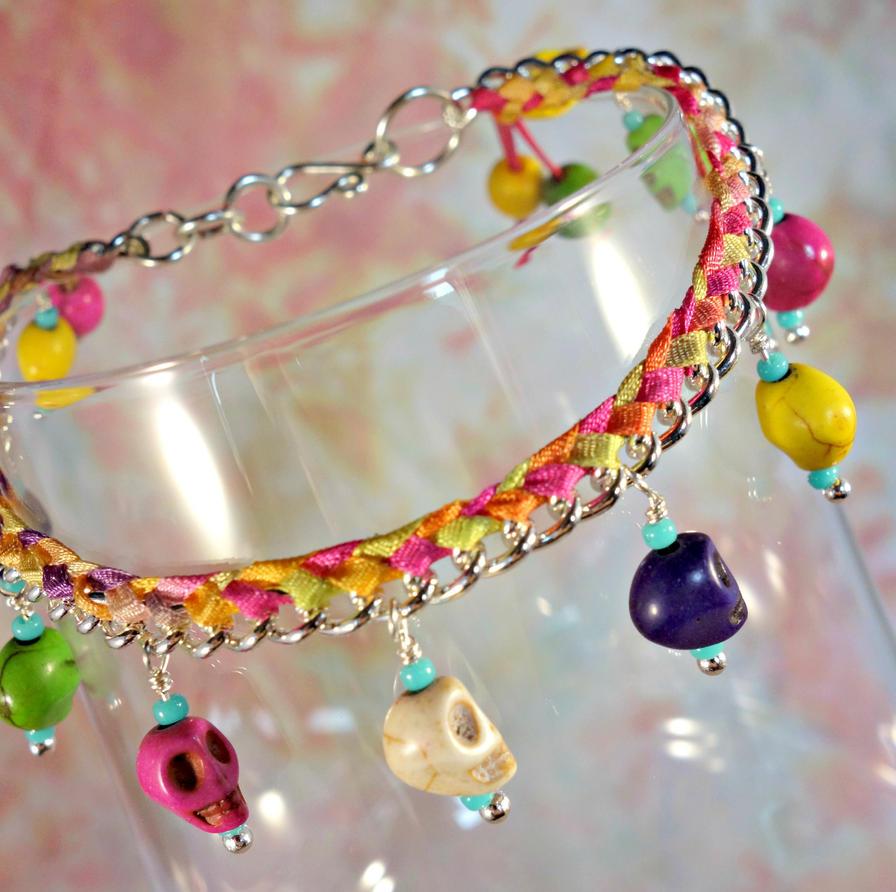 Colorful Skulls Bracelet by cymberrain