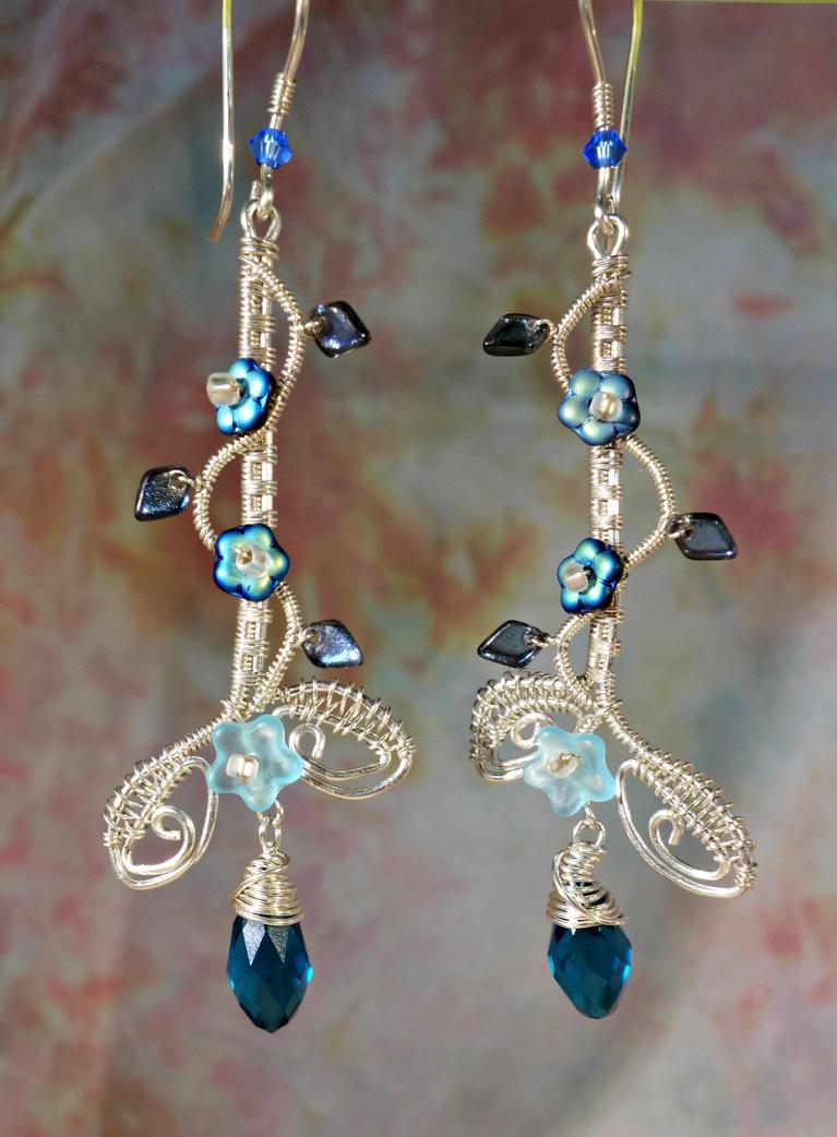 Silver Vine earrings by cymberrain