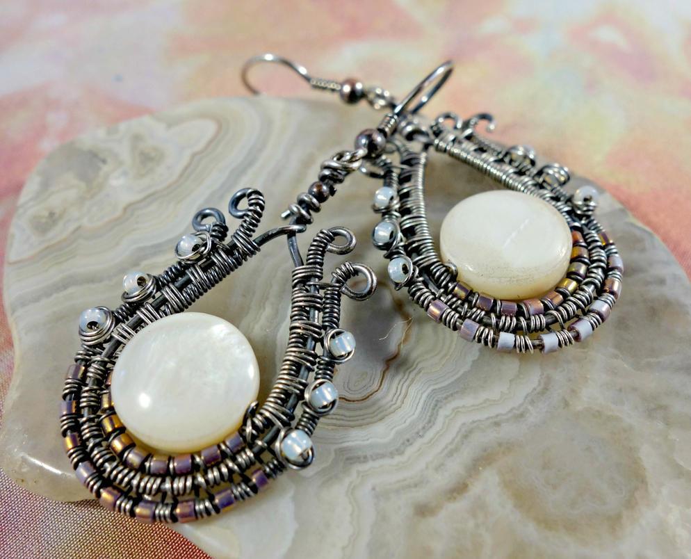 Mother of Pearl Earrings by cymberrain