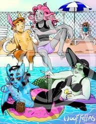Hoof Fellas Pool Party Poster