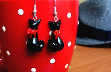 Black Cats earrings by Monocian