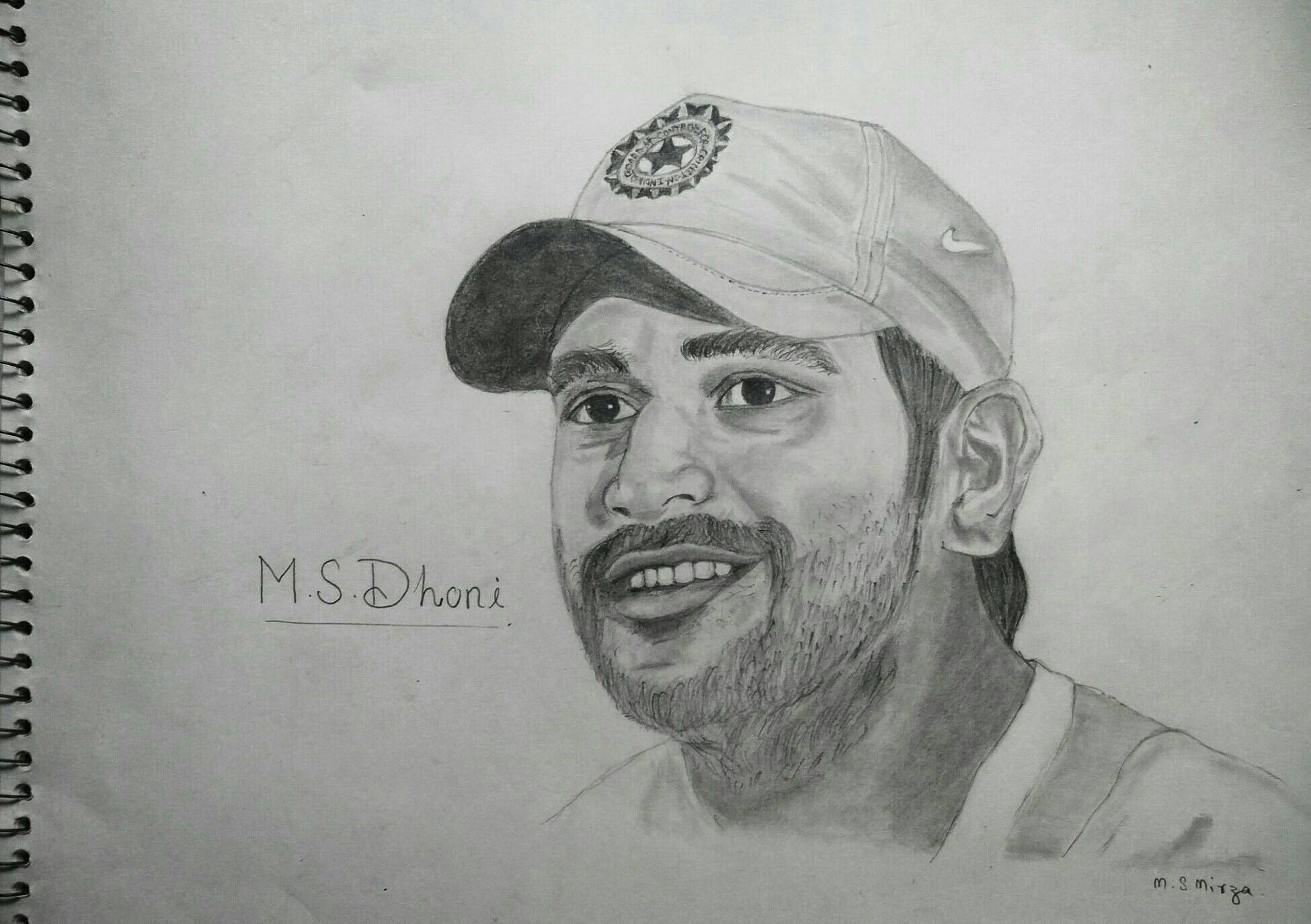 M. S. Dhoni pencil drawing by mohd shad mirza by iamshadmirza on ...