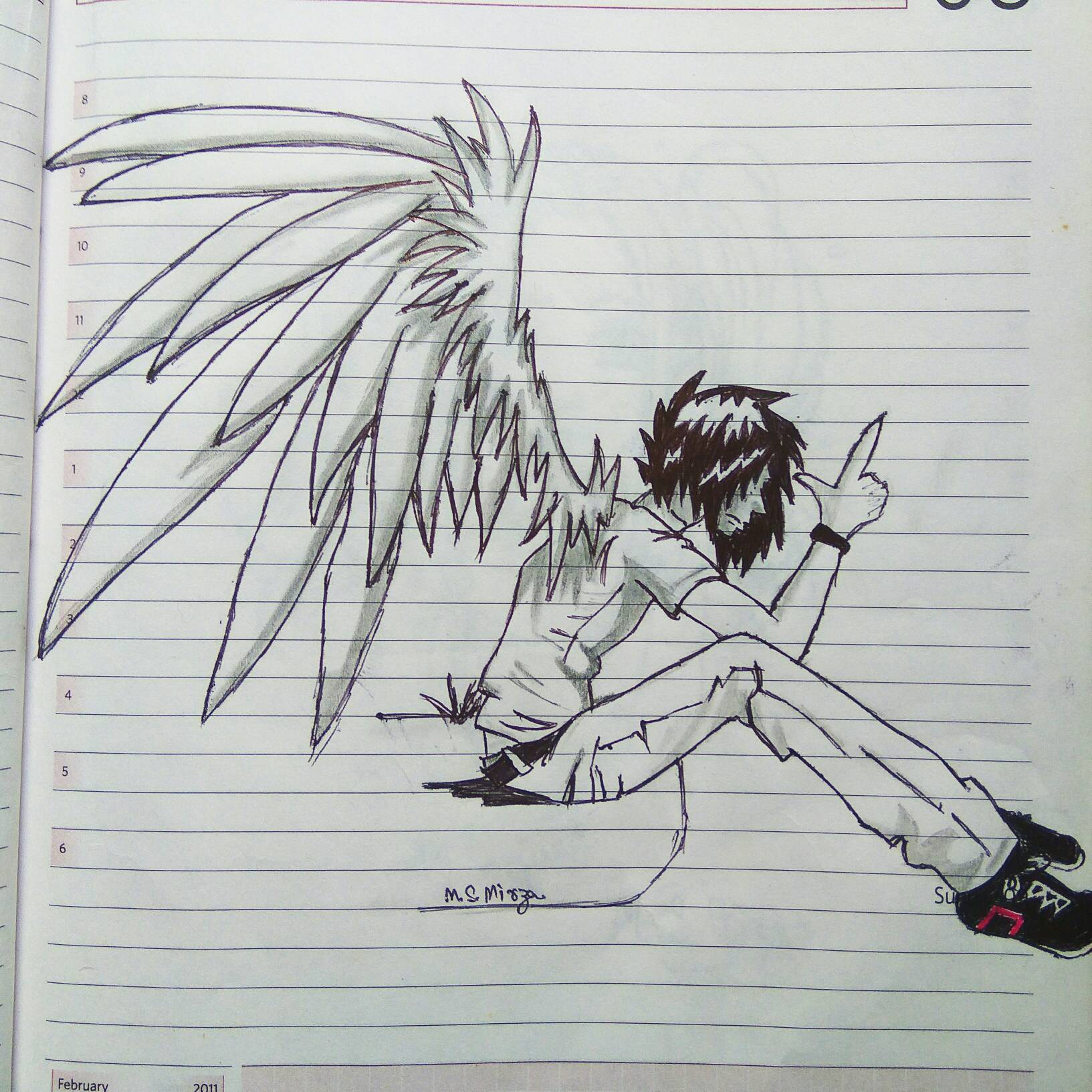 Winged anime boy drawing by mohd shad mirza by iamshadmirza