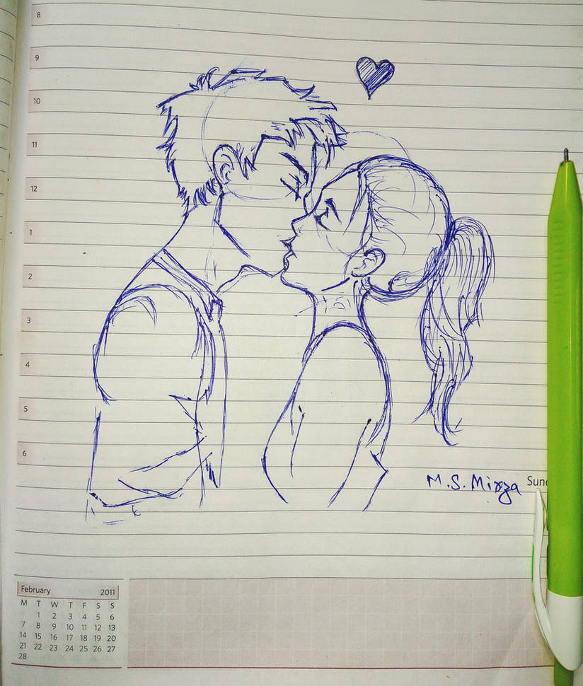 Kissing couple drawing by mohd shad mirza by iamshadmirza