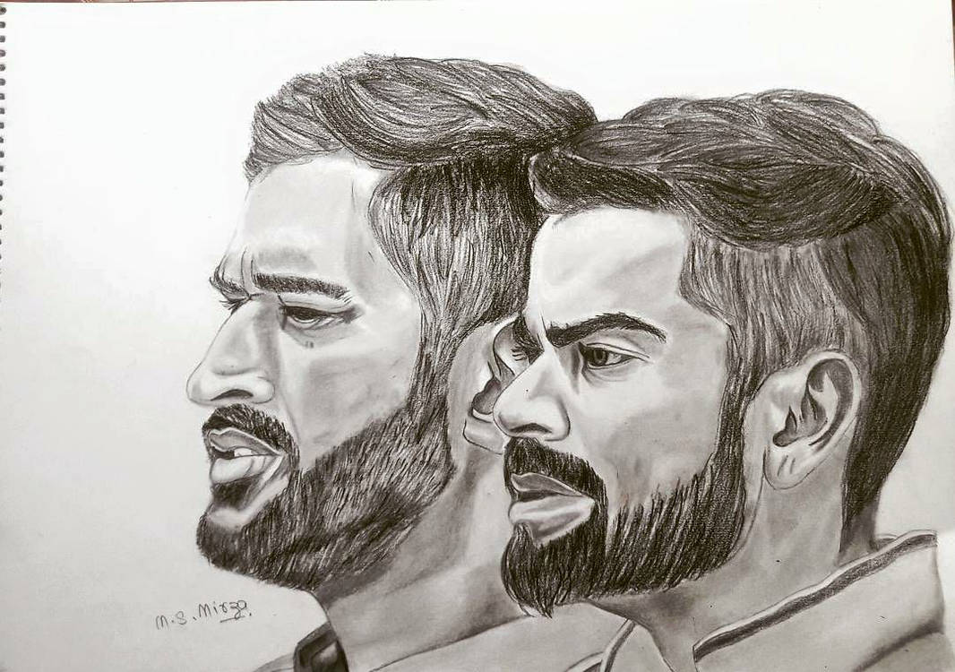 Virat kohli ms dhoni drawing by mohd shad mirza by iamshadmirza
