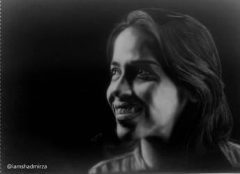Saina Nehwal Invert Drawing by Mohd Shad Mirza