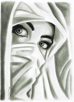Girl in Hijab drawing by Mohd Shad Mirza
