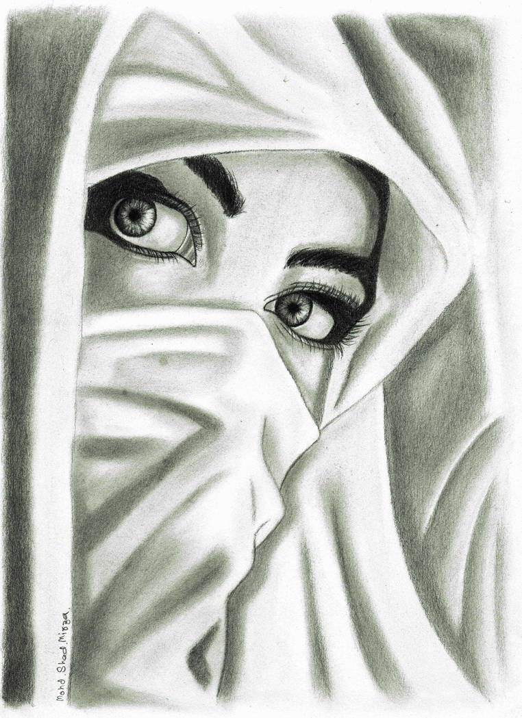 Girl in hijab drawing by mohd shad mirza by iamshadmirza