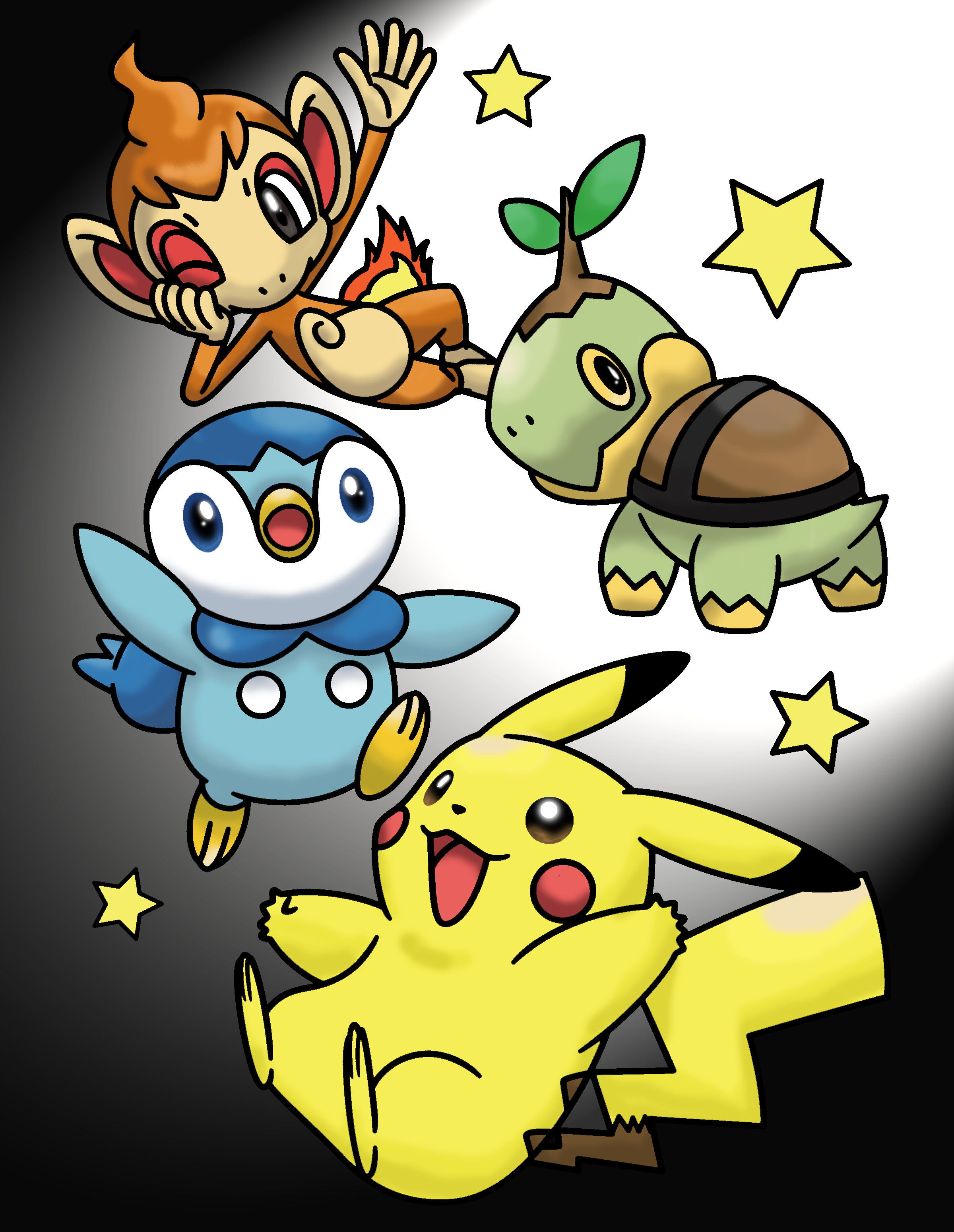 Pikachu, Turtwig, Chimchar, and Piplup Color Page by MihaelLawliet ...