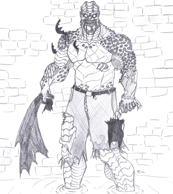 Killer croc zombie by bender18 on deviantart for Killer croc coloring pages